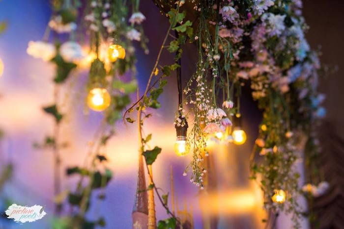 Edison bulb light strand from a Garden Cinderella Birthday Party on Kara's Party Ideas | KarasPartyIdeas.com (9)