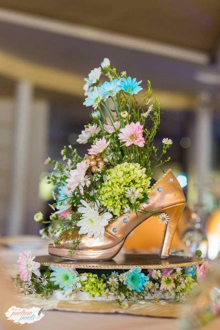 Cinderella Centerpiece from a Garden Cinderella Birthday Party on Kara's Party Ideas | KarasPartyIdeas.com (17)