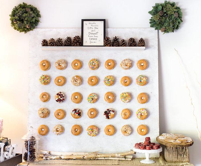 Donut wall from a Holiday Boho Baby Shower on Kara's Party Ideas | KarasPartyIdeas.com (17)