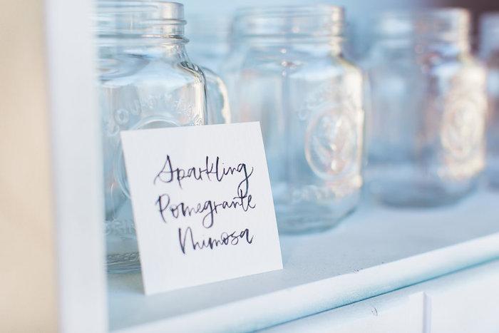 Drink label + mason jars from a Holiday Boho Baby Shower on Kara's Party Ideas | KarasPartyIdeas.com (13)