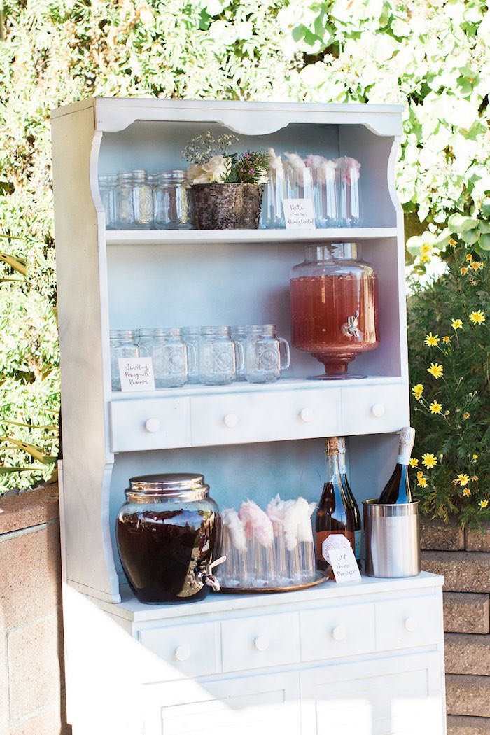 Beverage table from a Holiday Boho Baby Shower on Kara's Party Ideas | KarasPartyIdeas.com (11)