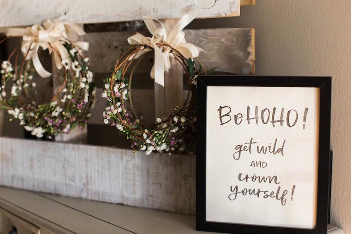 Bohoho floral crowns from a Holiday Boho Baby Shower on Kara's Party Ideas | KarasPartyIdeas.com (9)