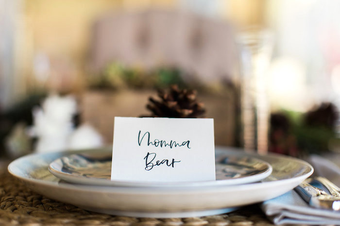 Mama Bear Place Setting from a Holiday Boho Baby Shower on Kara's Party Ideas | KarasPartyIdeas.com (24)