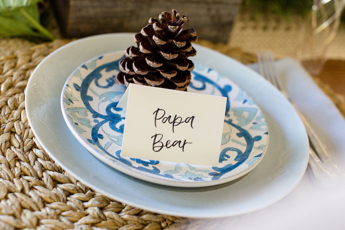 Papa Bear + Dad to Be Table Setting from a Holiday Boho Baby Shower on Kara's Party Ideas | KarasPartyIdeas.com (22)