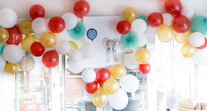 Balloon wall + backdrop from a Holiday Boho Baby Shower on Kara's Party Ideas | KarasPartyIdeas.com (19)