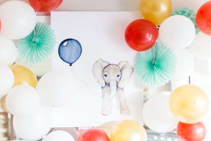 Watercolor elephant sign from a Holiday Boho Baby Shower on Kara's Party Ideas | KarasPartyIdeas.com (18)