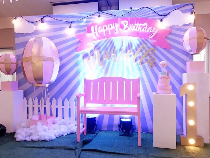 Backdrop + stage from a Hot Air Balloon Birthday Party on Kara's Party Ideas | KarasPartyIdeas.com (11)