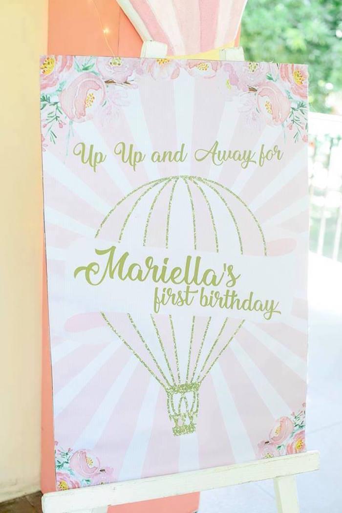 Hot Air Balloon Signage from a Hot Air Balloon Birthday Party on Kara's Party Ideas | KarasPartyIdeas.com (7)