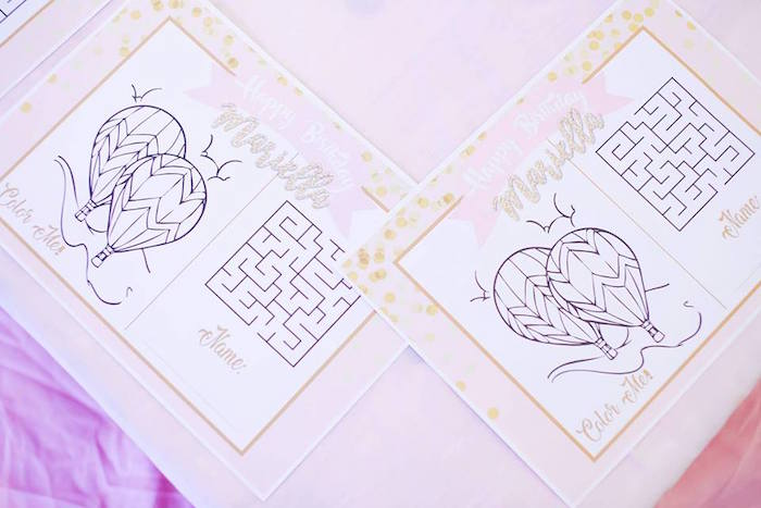 Interactive/coloring page place mats from a Hot Air Balloon Birthday Party on Kara's Party Ideas | KarasPartyIdeas.com (6)