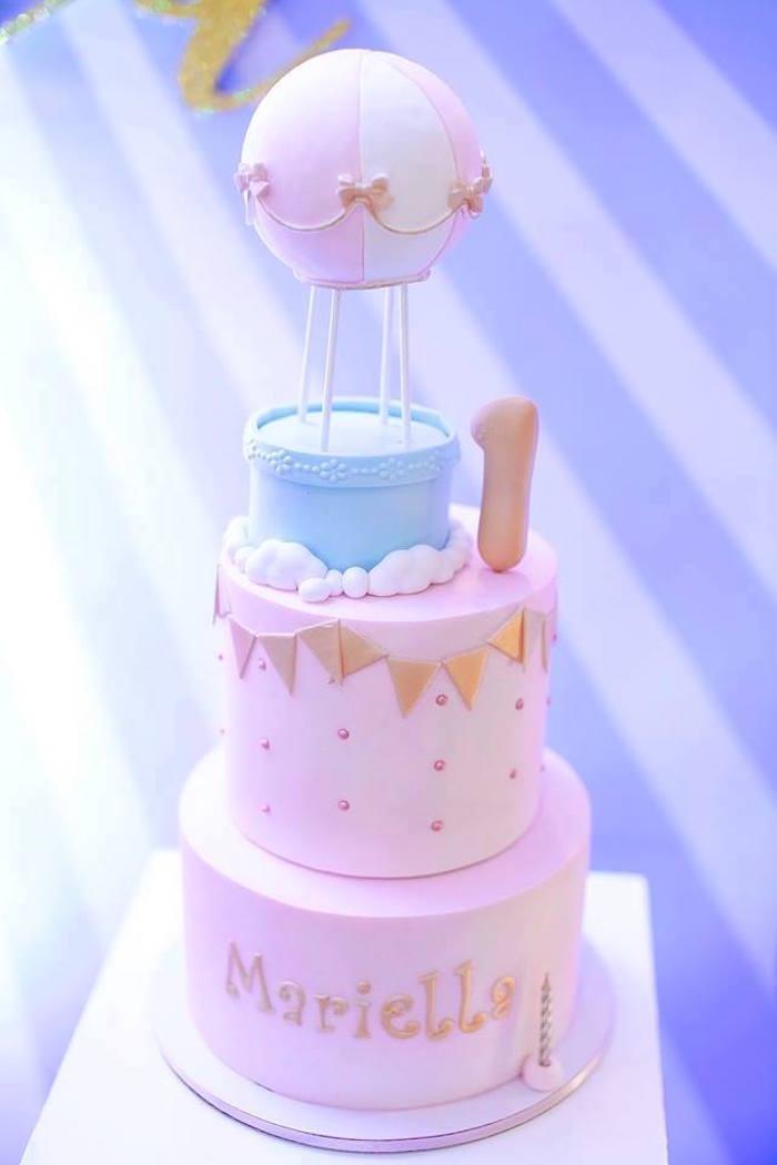 Hot Air Balloon Cake from a Hot Air Balloon Birthday Party on Kara's Party Ideas | KarasPartyIdeas.com (3)