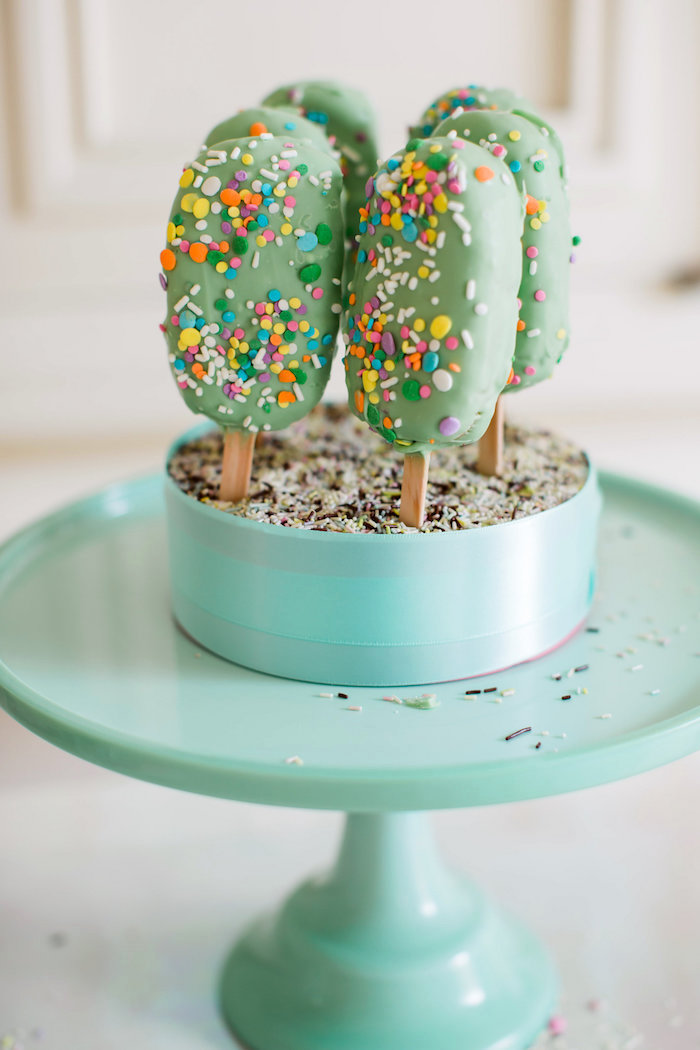 Cake popsicles from an Ice Cream Truck Birthday Party on Kara's Party Ideas | KarasPartyIdeas.com (26)