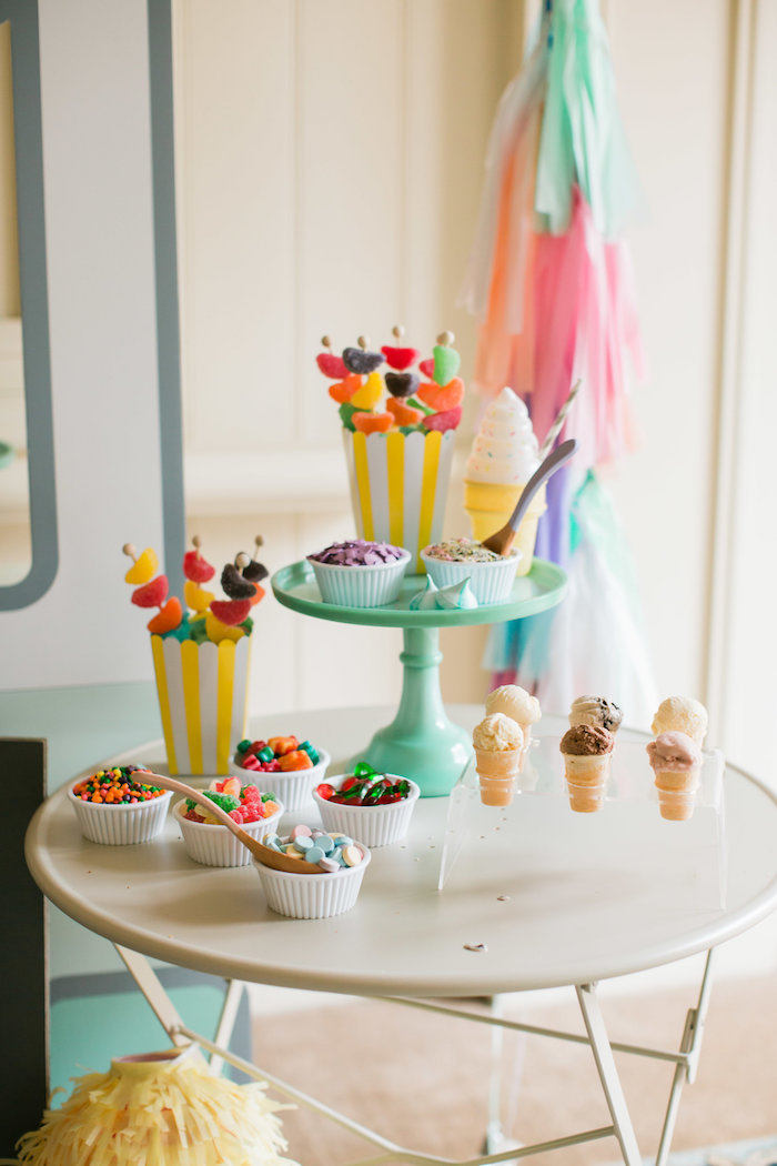 Candy table from an Ice Cream Truck Birthday Party on Kara's Party Ideas | KarasPartyIdeas.com (23)