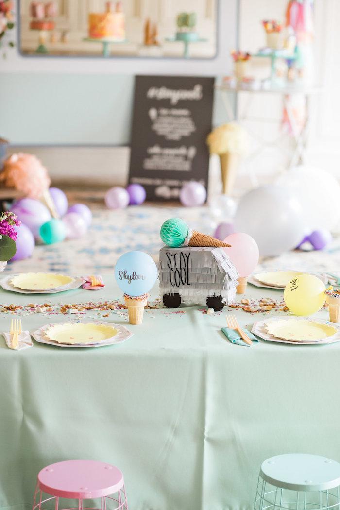 Kid table from an Ice Cream Truck Birthday Party on Kara's Party Ideas | KarasPartyIdeas.com (21)