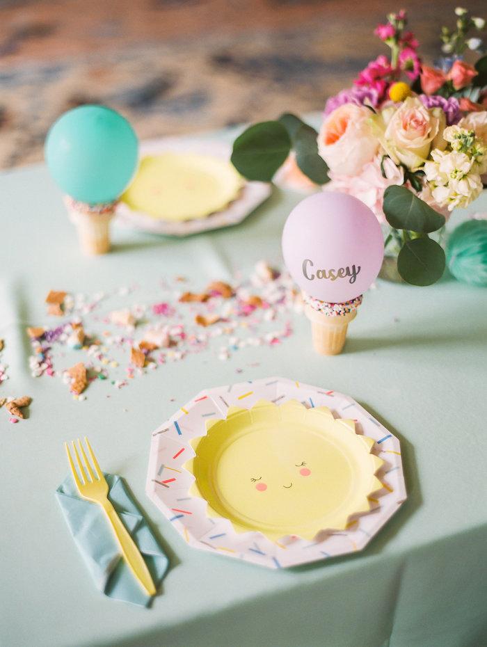 Table setting from an Ice Cream Truck Birthday Party on Kara's Party Ideas | KarasPartyIdeas.com (20)