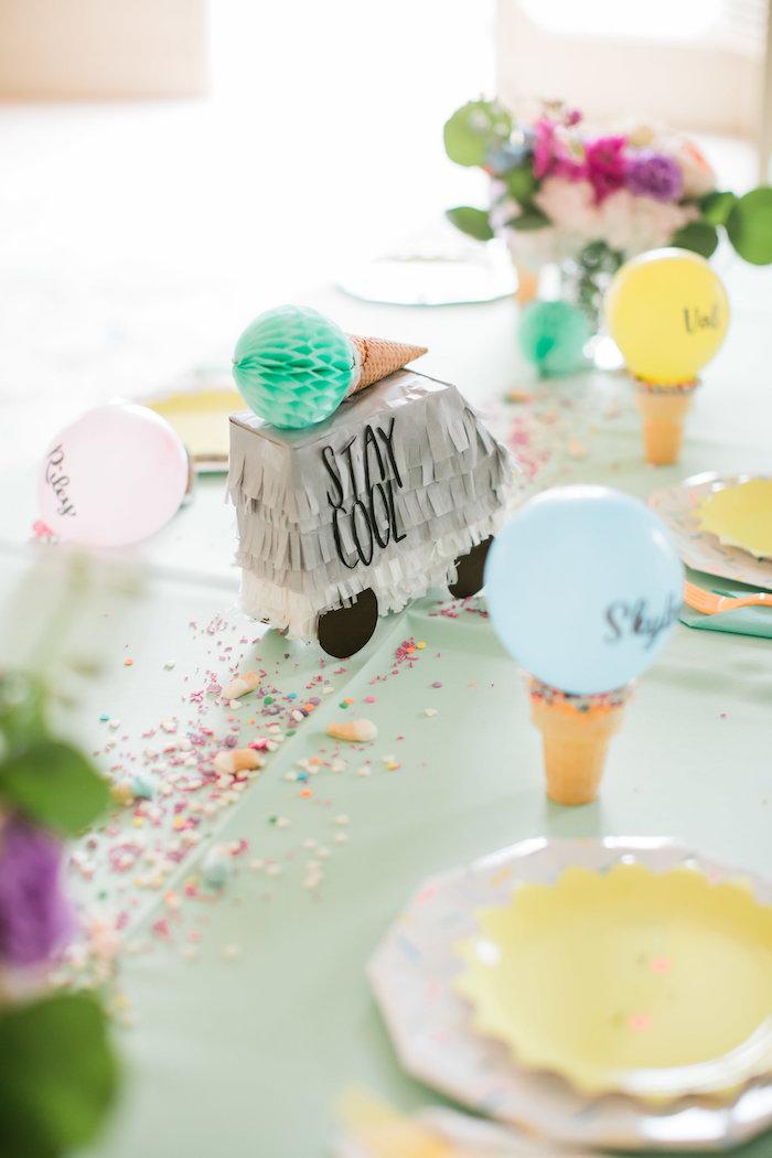 Table setting from an Ice Cream Truck Birthday Party on Karau0027s Party Ideas | KarasPartyIdeas. & Karau0027s Party Ideas Ice Cream Truck Birthday Party | Karau0027s Party Ideas