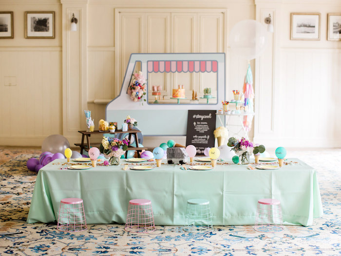 Ice cream party spread from an Ice Cream Truck Birthday Party on Kara's Party Ideas | KarasPartyIdeas.com (35)