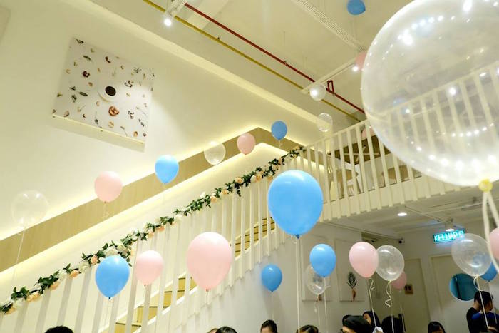 Balloon adorned staircase from a Little Star Twins Birthday Party on Kara's Party Ideas | KarasPartyIdeas.com (8)