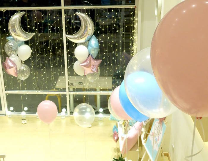 Balloon and twinkle light decor from a Little Star Twins Birthday Party on Kara's Party Ideas | KarasPartyIdeas.com (5)