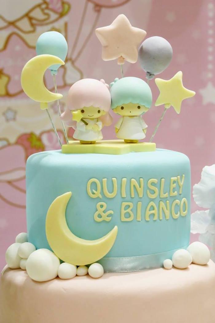 Twin Birthday Cake from a Little Star Twins Birthday Party on Kara's Party Ideas | KarasPartyIdeas.com (14)