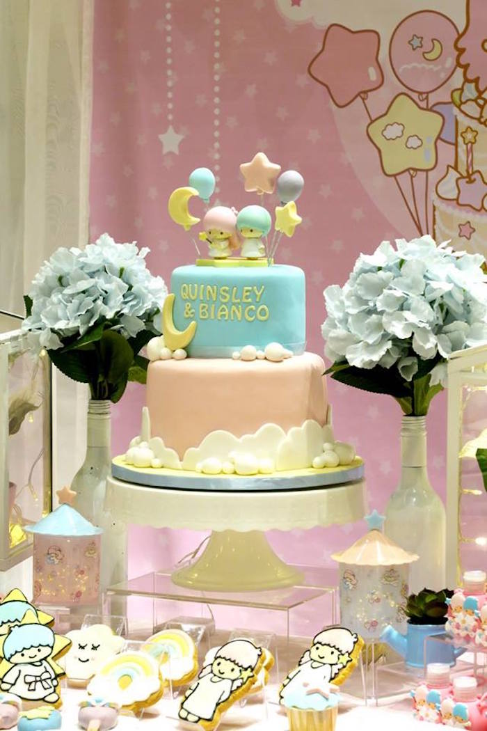 Cakescape from a Little Star Twins Birthday Party on Kara's Party Ideas | KarasPartyIdeas.com (13)