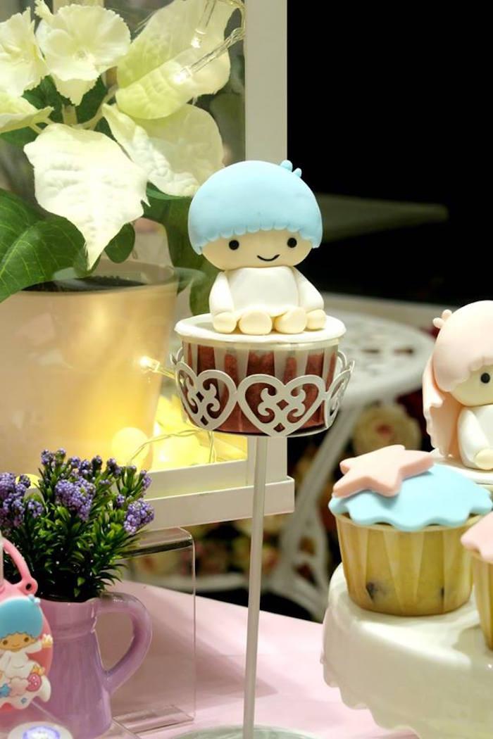 Little boy cupcake from a Little Star Twins Birthday Party on Kara's Party Ideas | KarasPartyIdeas.com (11)
