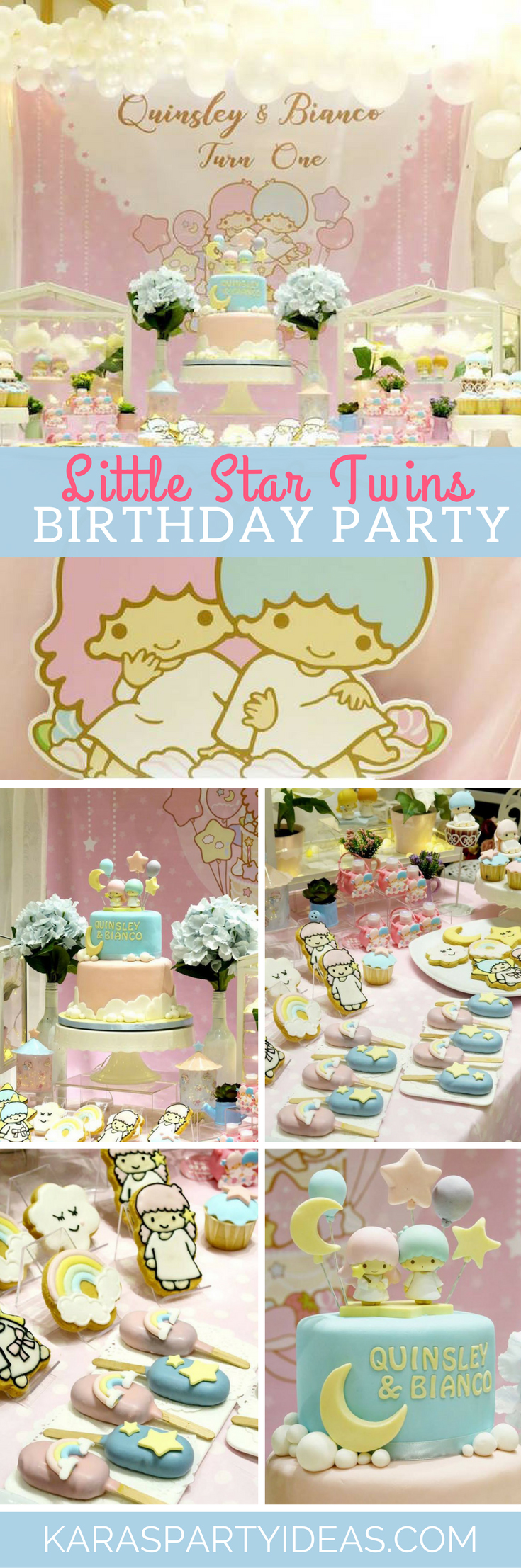 Little Star Twins Birthday Party via Kara's Party Ideas - KarasPartyIdeas.com