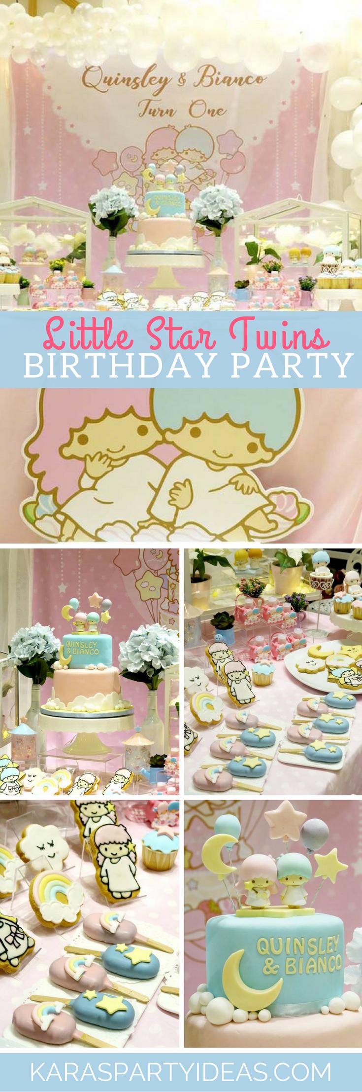 Little Star Twins Birthday Party via Kara's Party Ideas - KarasPartyIdeas.com