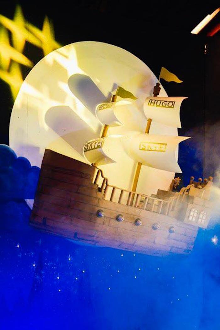 Flying Hook's Ship + Backdrop from a Magical Neverland Birthday Party on Kara's Party Ideas | KarasPartyIdeas.com (16)