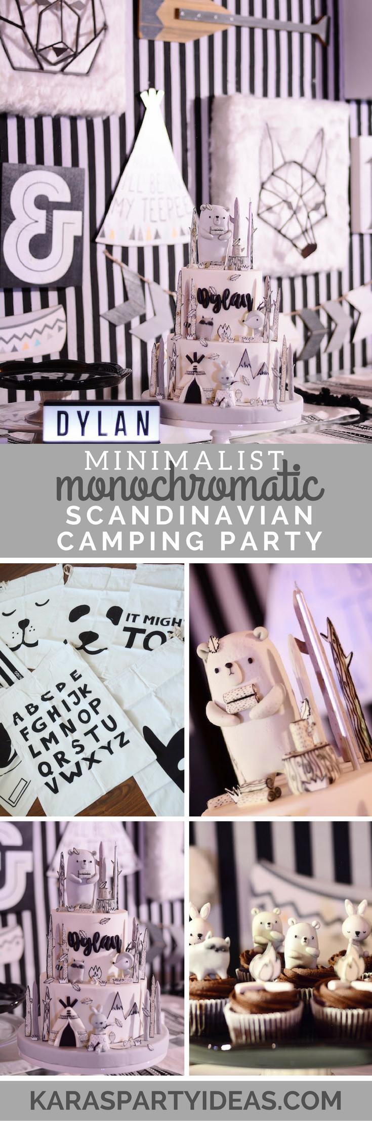 Minimalist Monochromatic Scandinavian Camping Party via Kara's Party Ideas - KarasPartyIdeas.com