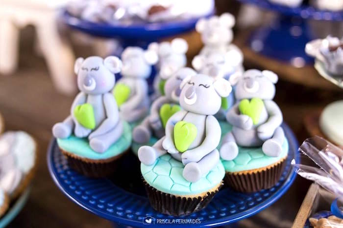 Koala cupcakes from a Modern Koala Baby Shower on Kara's Party Ideas | KarasPartyIdeas.com (10)