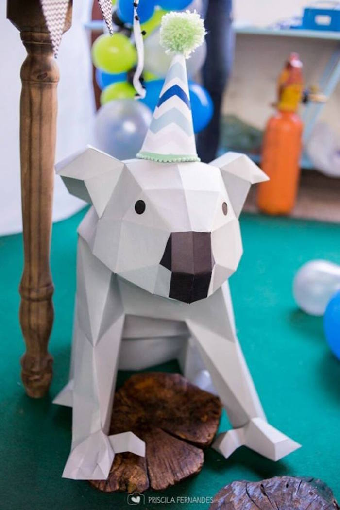 Geometric koala from a Modern Koala Baby Shower on Kara's Party Ideas | KarasPartyIdeas.com (7)