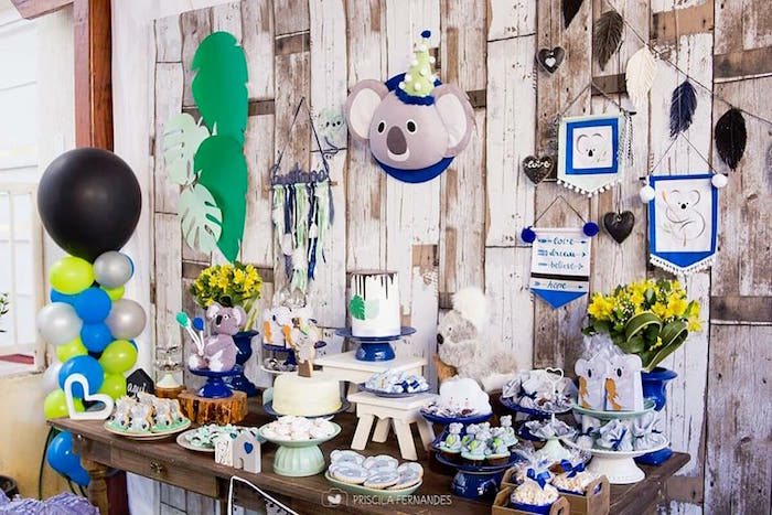 Dessert tablescape from a Modern Koala Baby Shower on Kara's Party Ideas | KarasPartyIdeas.com (6)