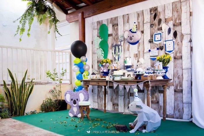 Koala Bear Dessert Table from a Modern Koala Baby Shower on Kara's Party Ideas | KarasPartyIdeas.com (19)