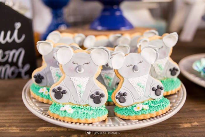 Koala Cookies from a Modern Koala Baby Shower on Kara's Party Ideas | KarasPartyIdeas.com (16)