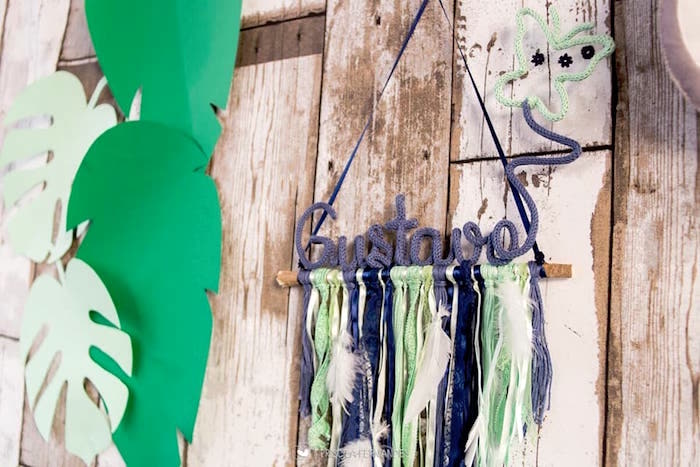 Crocheted tassel banner from a Modern Koala Baby Shower on Kara's Party Ideas | KarasPartyIdeas.com (13)
