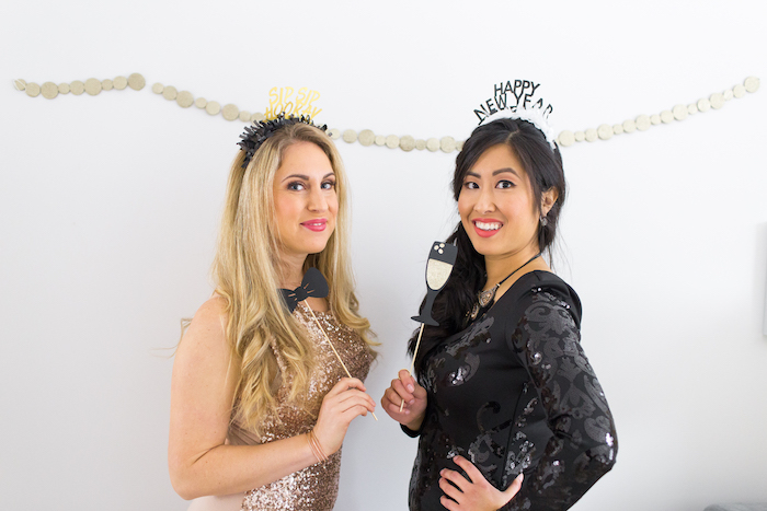 Photo booth from a NYE Cookies & Bubbly Party on Kara's Party Ideas | KarasPartyIdeas.com (11)