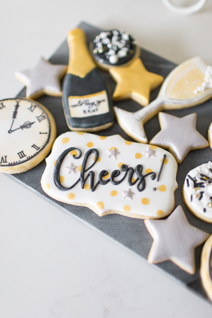 Cookies from a NYE Cookies & Bubbly Party on Kara's Party Ideas | KarasPartyIdeas.com (21)