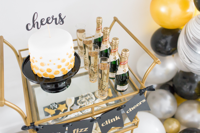 Dessert cart from a NYE Cookies & Bubbly Party on Kara's Party Ideas | KarasPartyIdeas.com (16)