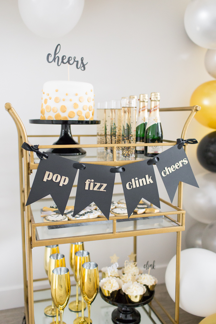 Party cart from a NYE Cookies & Bubbly Party on Kara's Party Ideas | KarasPartyIdeas.com (15)