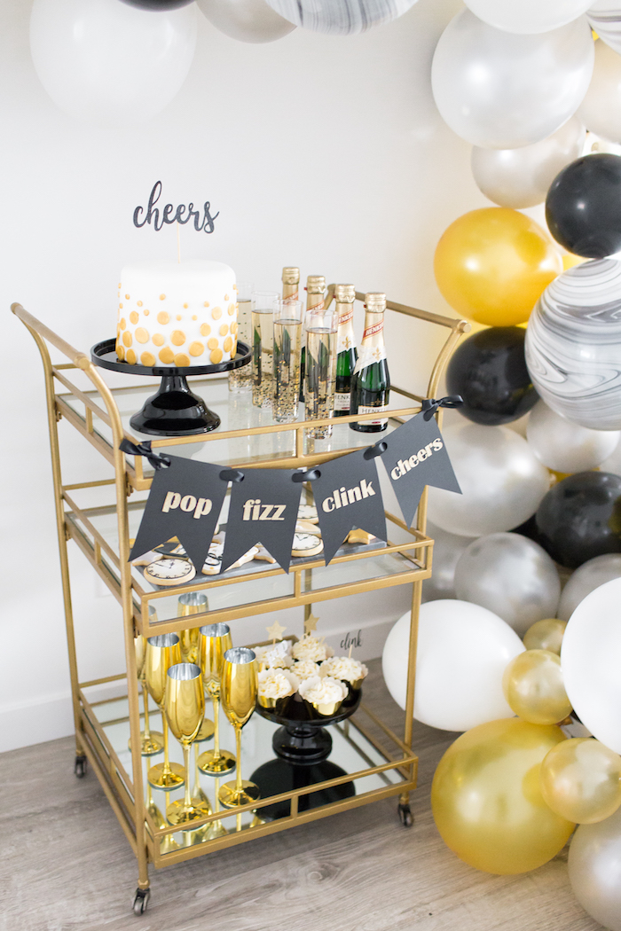Party cart from a NYE Cookies & Bubbly Party on Kara's Party Ideas | KarasPartyIdeas.com (14)