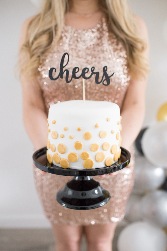 Cheers Cake from a NYE Cookies & Bubbly Party on Kara's Party Ideas | KarasPartyIdeas.com (13)