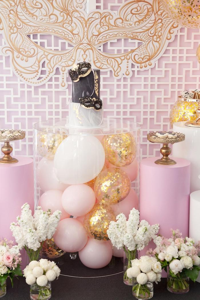 Balloon-filled cake table from a NYE Masquerade Slumber Party on Kara's Party Ideas | KarasPartyIdeas.com (22)
