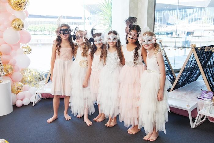 Ruffle dresses and masquerade masks from a NYE Masquerade Slumber Party on Kara's Party Ideas | KarasPartyIdeas.com (15)