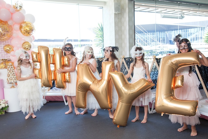 Gold Balloons from a NYE Masquerade Slumber Party on Kara's Party Ideas | KarasPartyIdeas.com (9)