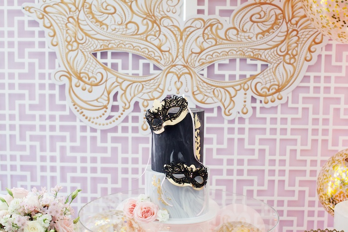 Cakescape from a NYE Masquerade Slumber Party on Kara's Party Ideas | KarasPartyIdeas.com (8)