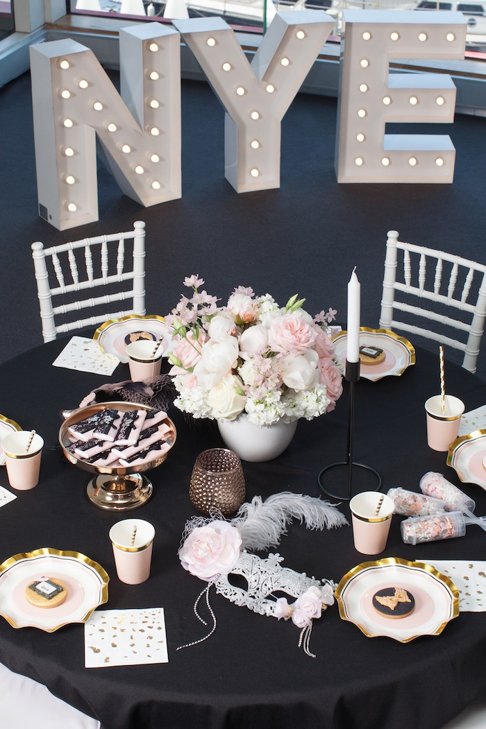 Guest table from a NYE Masquerade Slumber Party on Kara's Party Ideas | KarasPartyIdeas.com (35)