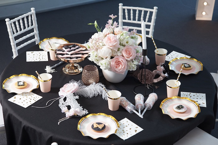 Glam guest table from a NYE Masquerade Slumber Party on Kara's Party Ideas | KarasPartyIdeas.com (34)