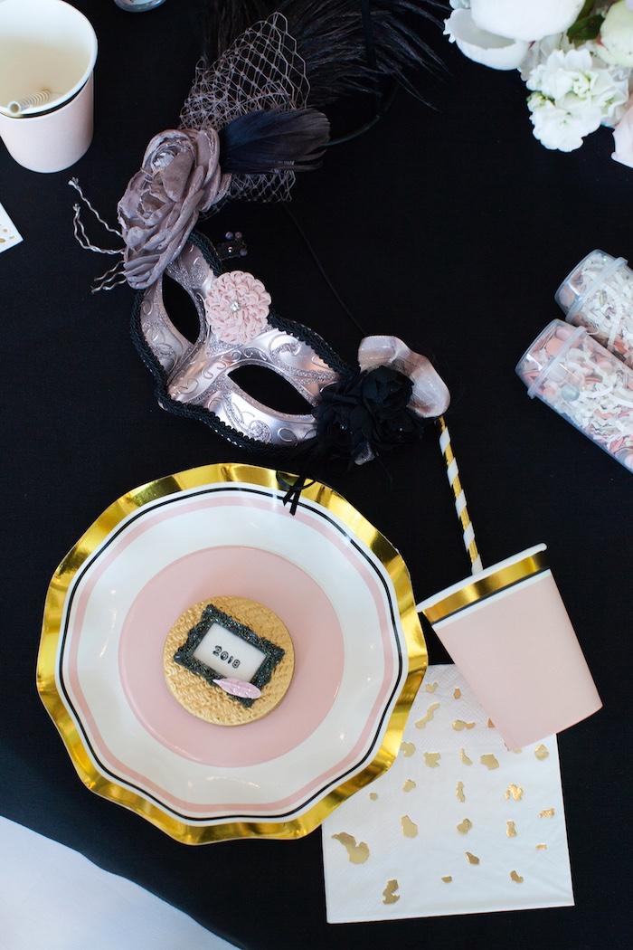 Table setting from a NYE Masquerade Slumber Party on Kara's Party Ideas | KarasPartyIdeas.com (32)