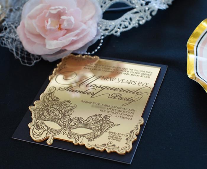Gold invitation from a NYE Masquerade Slumber Party on Kara's Party Ideas | KarasPartyIdeas.com (31)