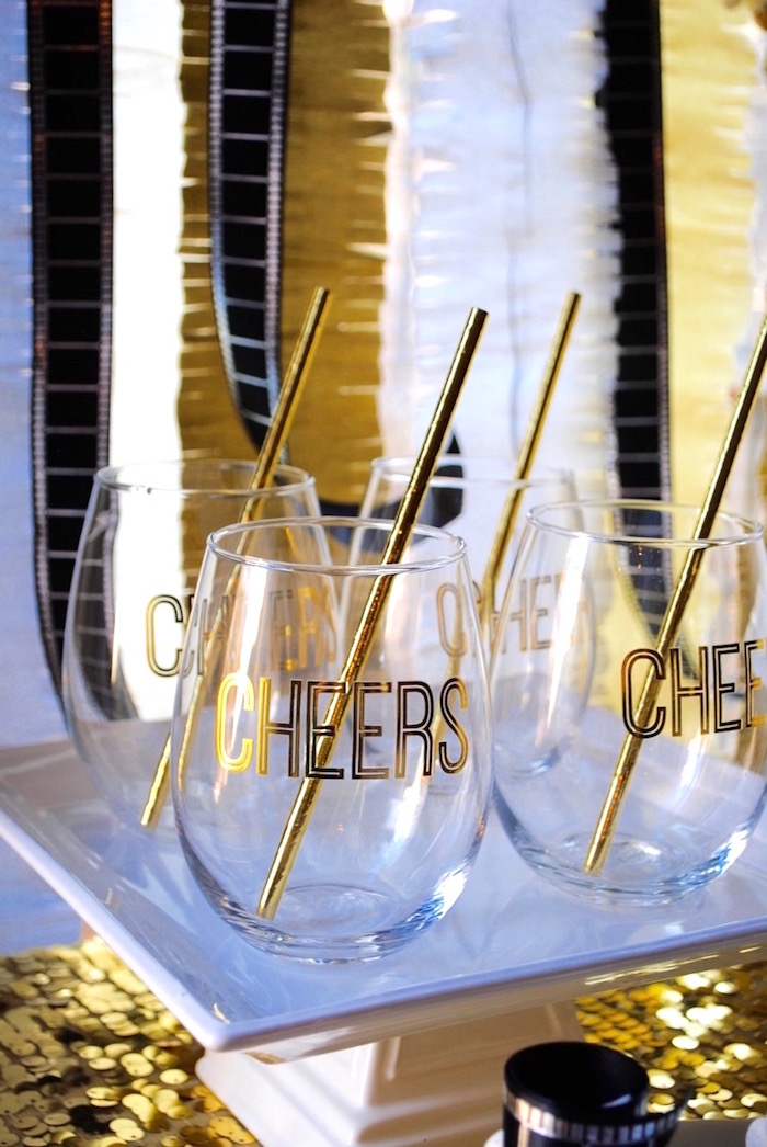 Cheers glasses from a NYE Movie Night on Kara's Party Ideas | KarasPartyIdeas.com